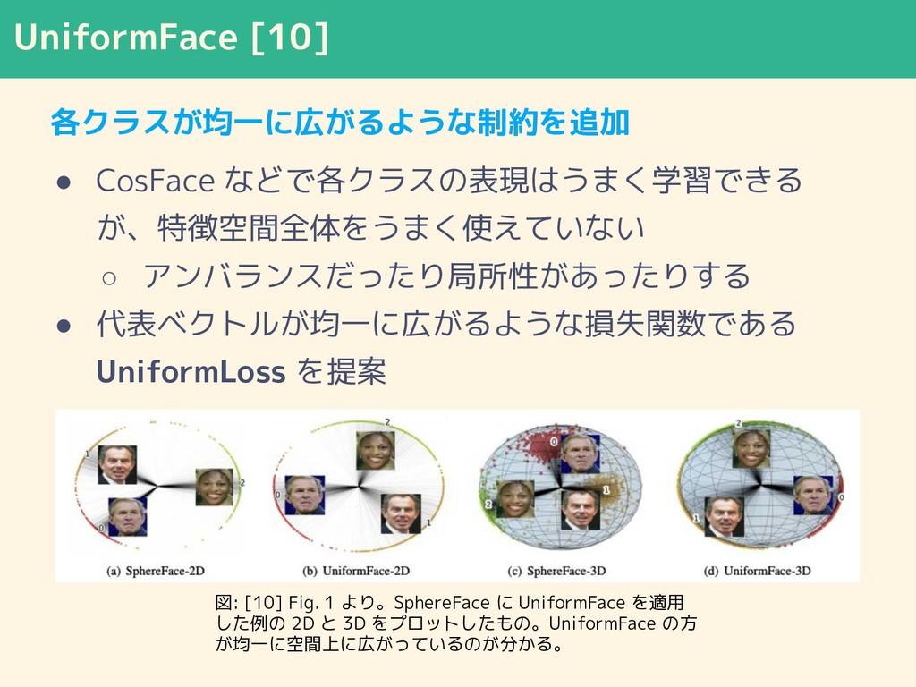 UniformFace [10] 各クラスが均一に広がるような制約を追加 ● CosFace ...