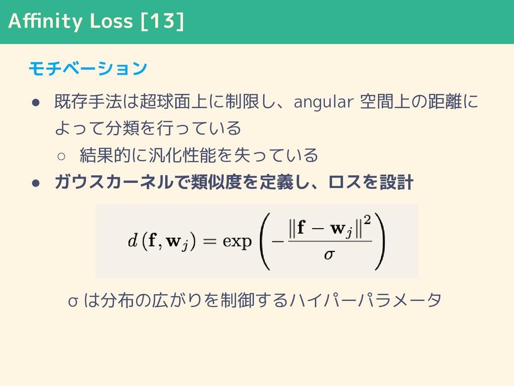 Affinity Loss [13] モチベーション ● 既存手法は超球面上に制限し、angula...