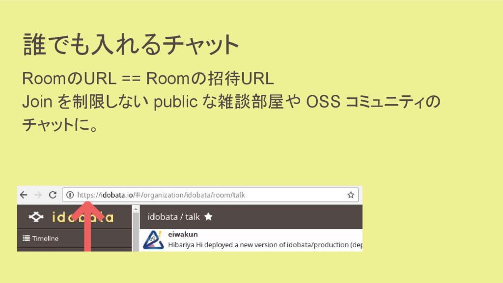 誰でも入れるチャット RoomのURL == Roomの招待URL Join を制限しない p...