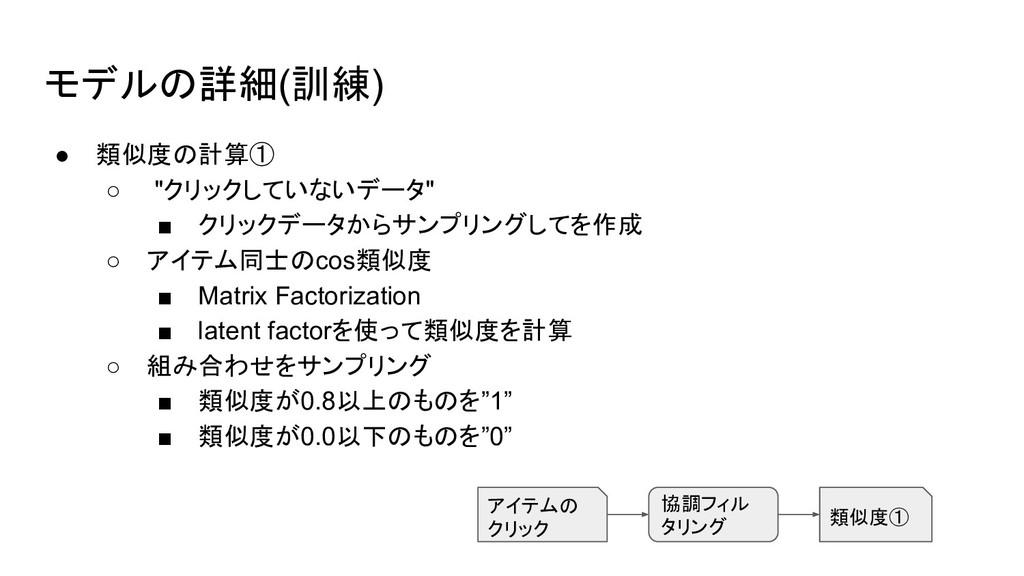 """モデルの詳細(訓練) ● 類似度の計算① ○ """"クリックしていないデータ"""" ■ クリックデータ..."""
