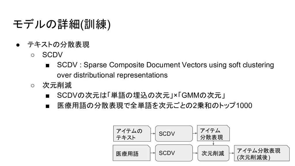 モデルの詳細(訓練) ● テキストの分散表現 ○ SCDV ■ SCDV : Sparse C...