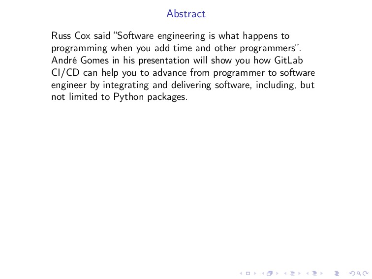 "Abstract Russ Cox said ""Software engineering is..."