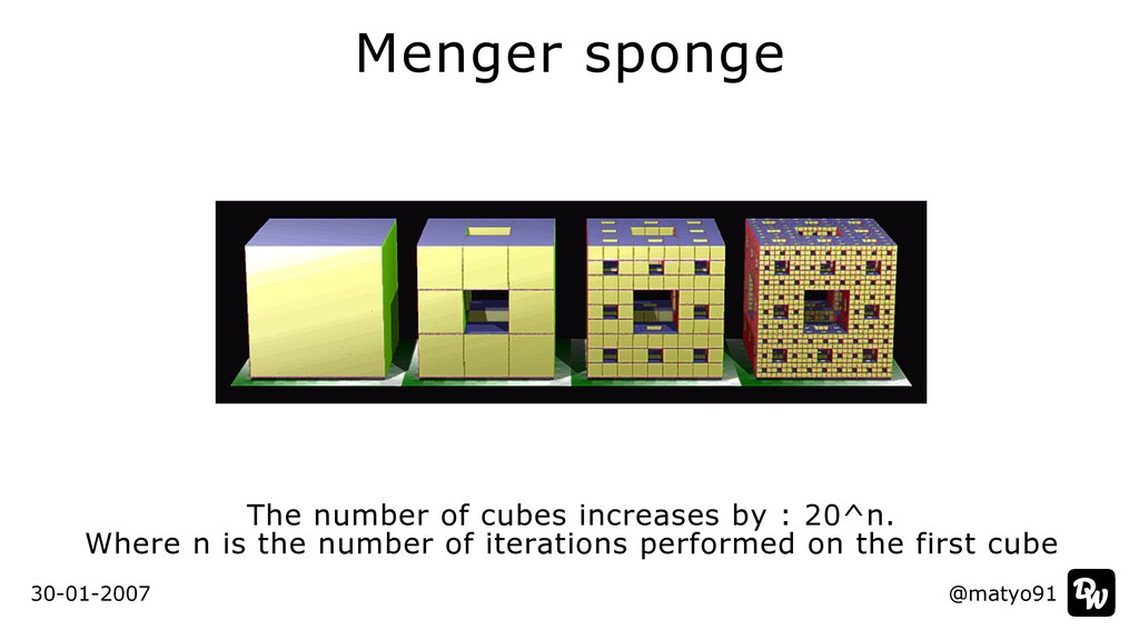 Menger sponge The number of cubes increases by ...