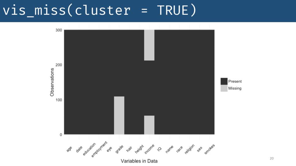vis_miss(cluster = TRUE) 20