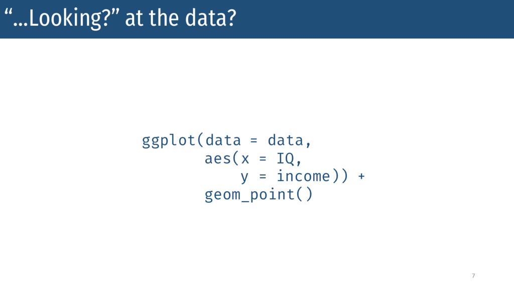 """…Looking?"" at the data? 7 ggplot(data = data, ..."