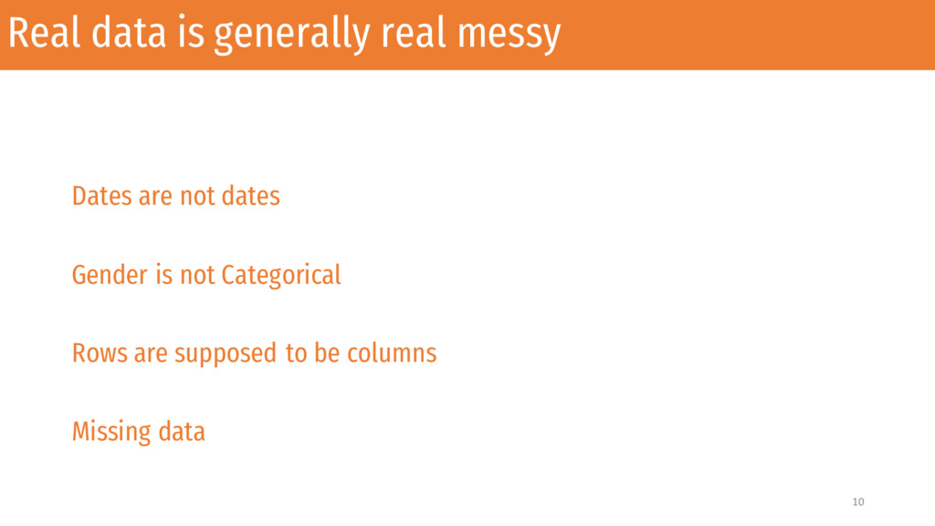 Real data is generally real messy Dates are not...