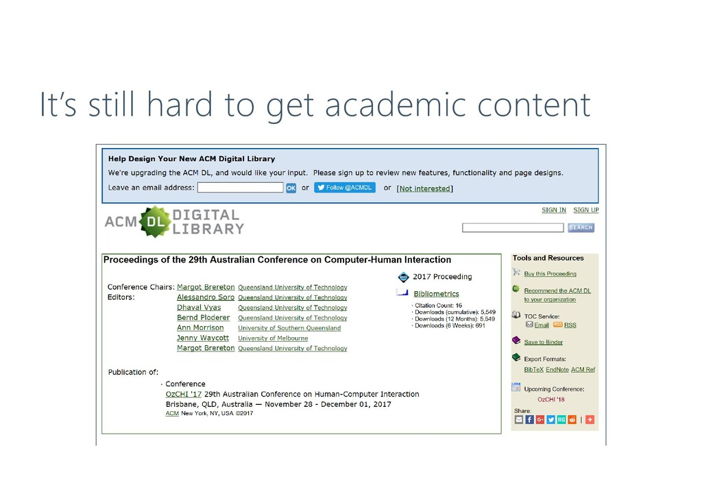 It's still hard to get academic content