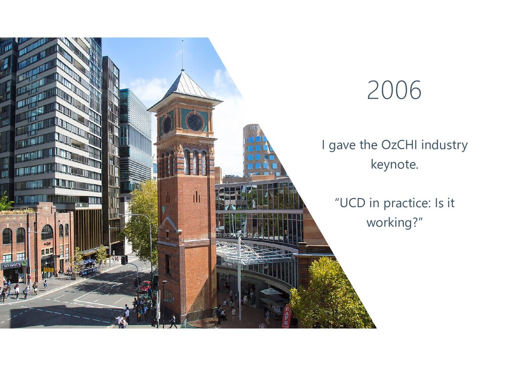 "2006 I gave the OzCHI industry keynote. ""UCD in..."