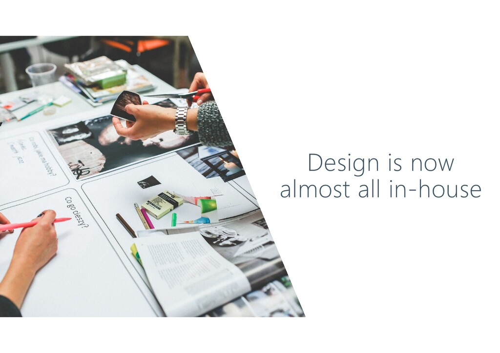 Design is now almost all in-house