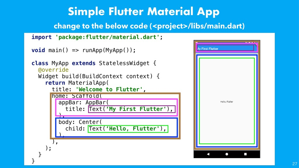 Simple Flutter Material App import 'package:flu...
