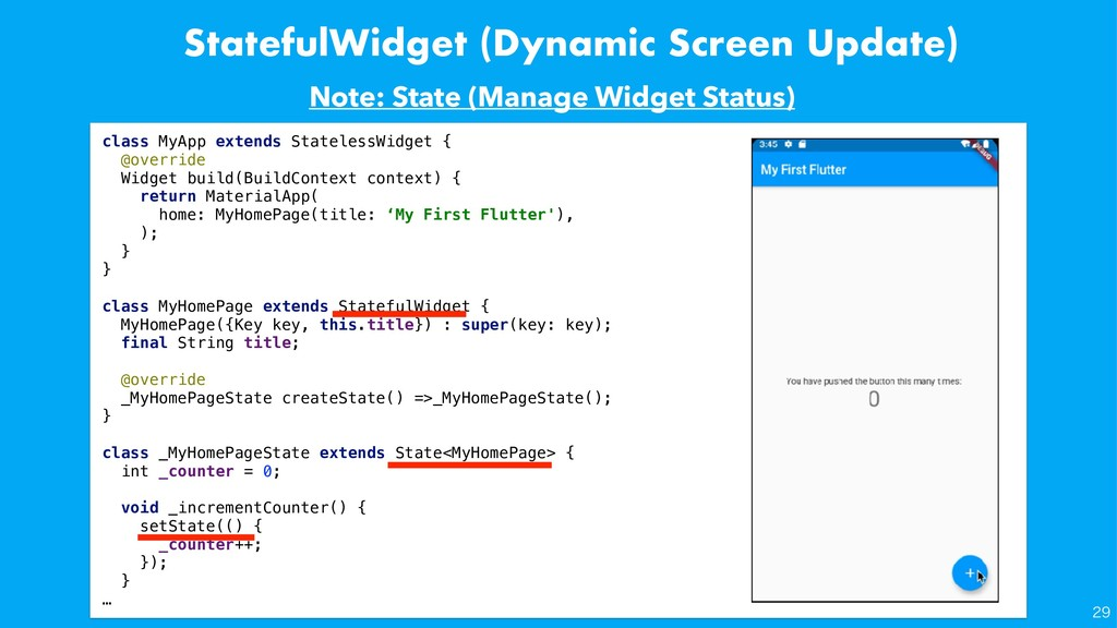 StatefulWidget (Dynamic Screen Update) class My...