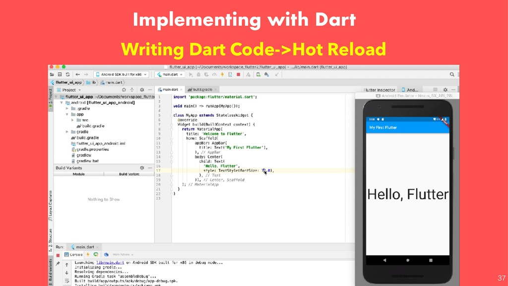 Implementing with Dart Writing Dart Code->Hot R...