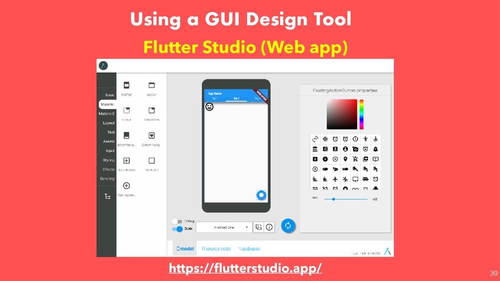 Using a GUI Design Tool Flutter Studio (Web app...