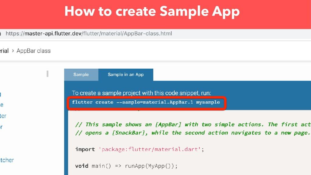 How to create Sample App