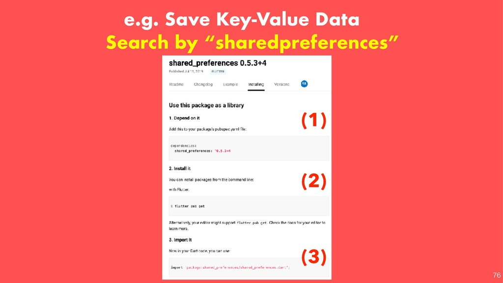e.g. Save Key-Value Data (3) (1) (2) Search by ...