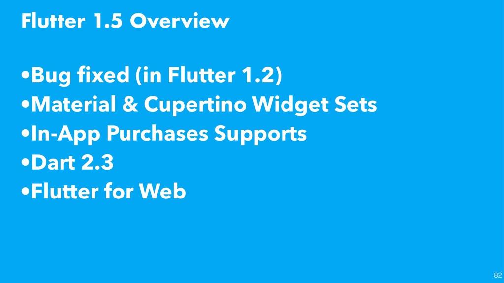 Flutter 1.5 Overview   •Bug fixed (in Flutter...
