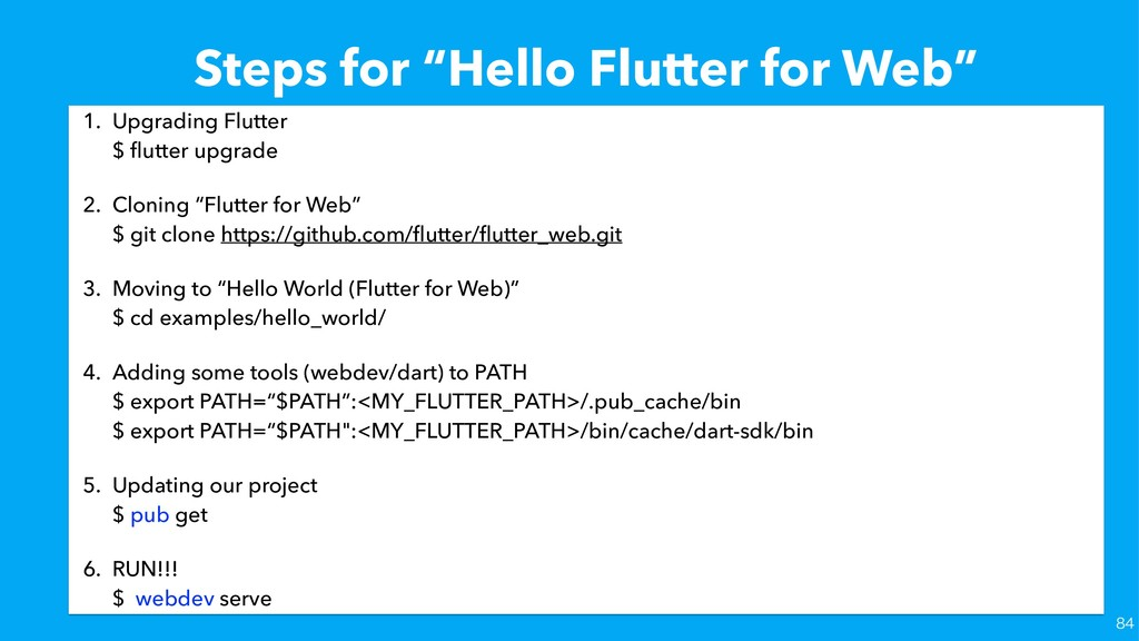 "Steps for ""Hello Flutter for Web"" 1. Upgrading ..."