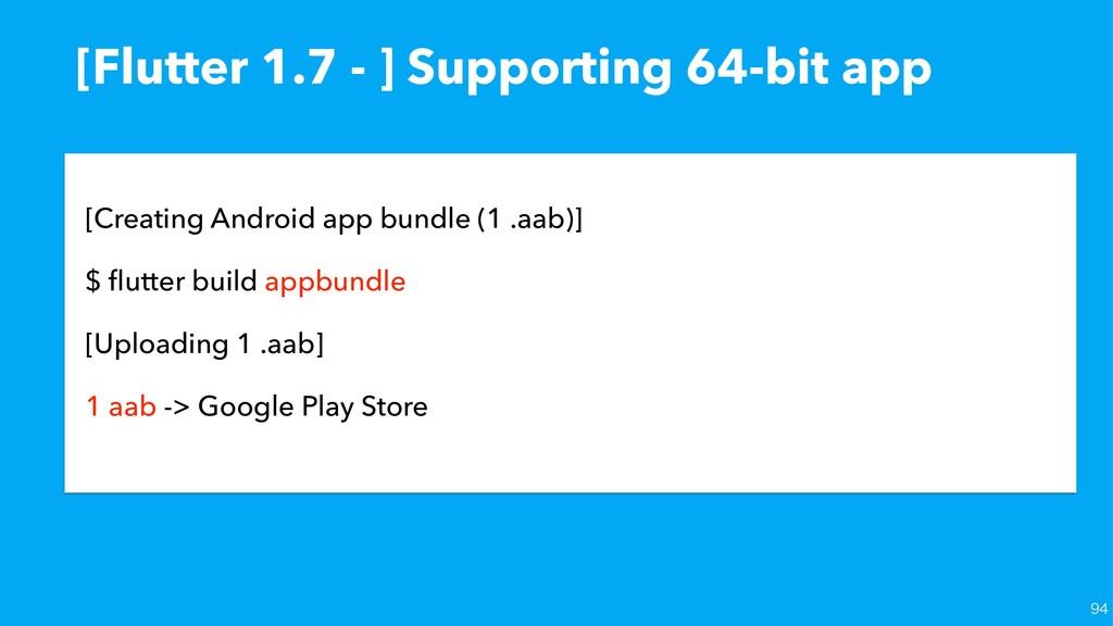 [Flutter 1.7 - ] Supporting 64-bit app [Creatin...