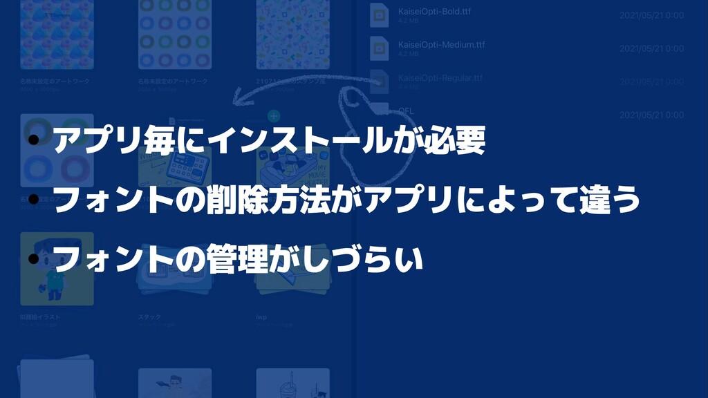 • アプリ毎にインストールが必要   • フォントの削除方法がアプリによって違う   • フォ...