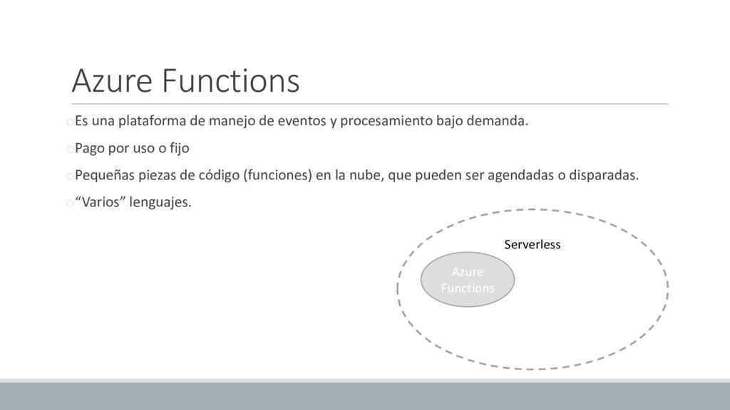 Azure Functions oEs una plataforma de manejo de...