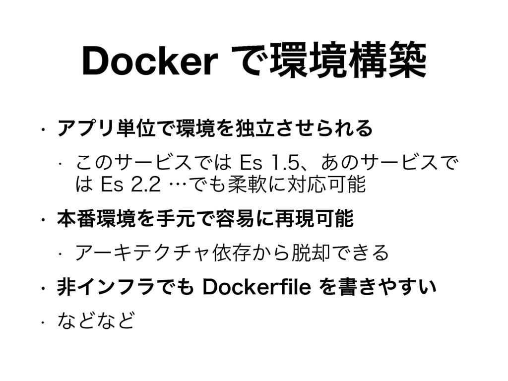 Docker Ͱڥߏங w ΞϓϦ୯ҐͰڥΛಠཱͤ͞ΒΕΔ w ͜ͷαʔϏεͰ&T...