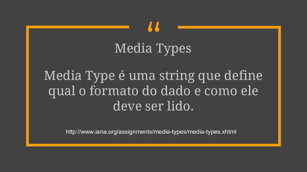 """"""" Media Types Media Type é uma string que defin..."""