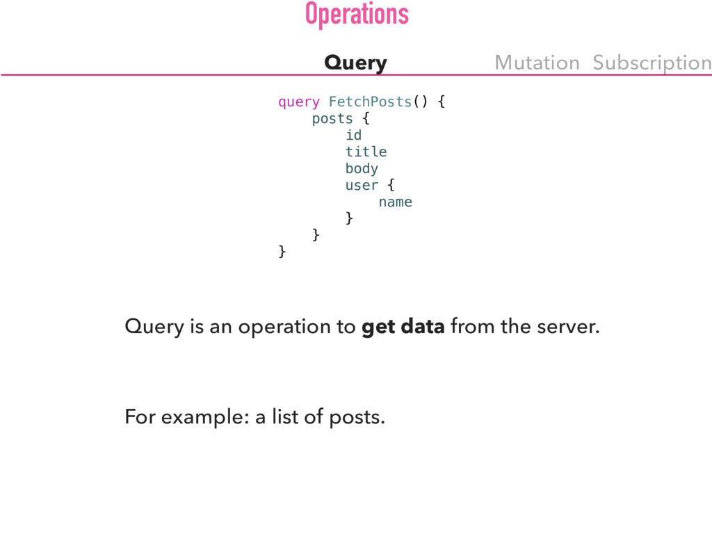 Query Mutation Subscription query FetchPosts() ...