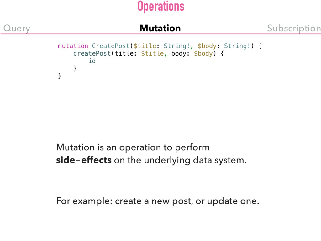 Query Mutation Subscription mutation CreatePost...
