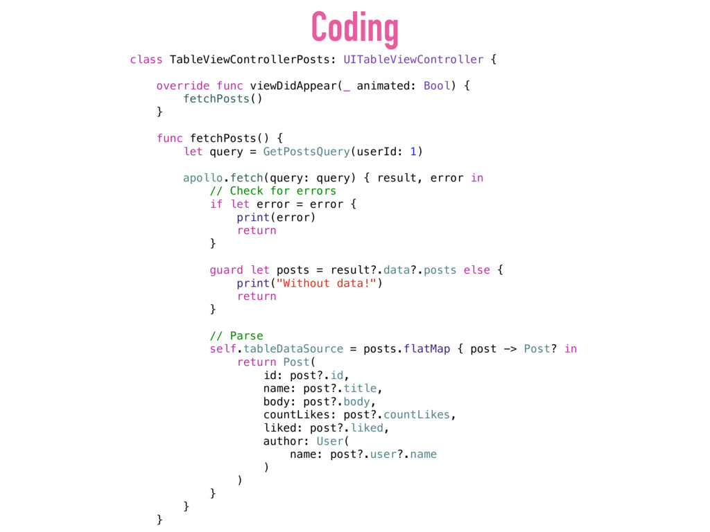 Coding class TableViewControllerPosts: UITableV...