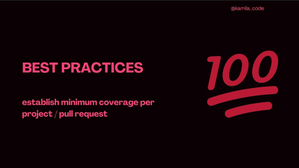 BEST PRACTICES establish minimum coverage per p...