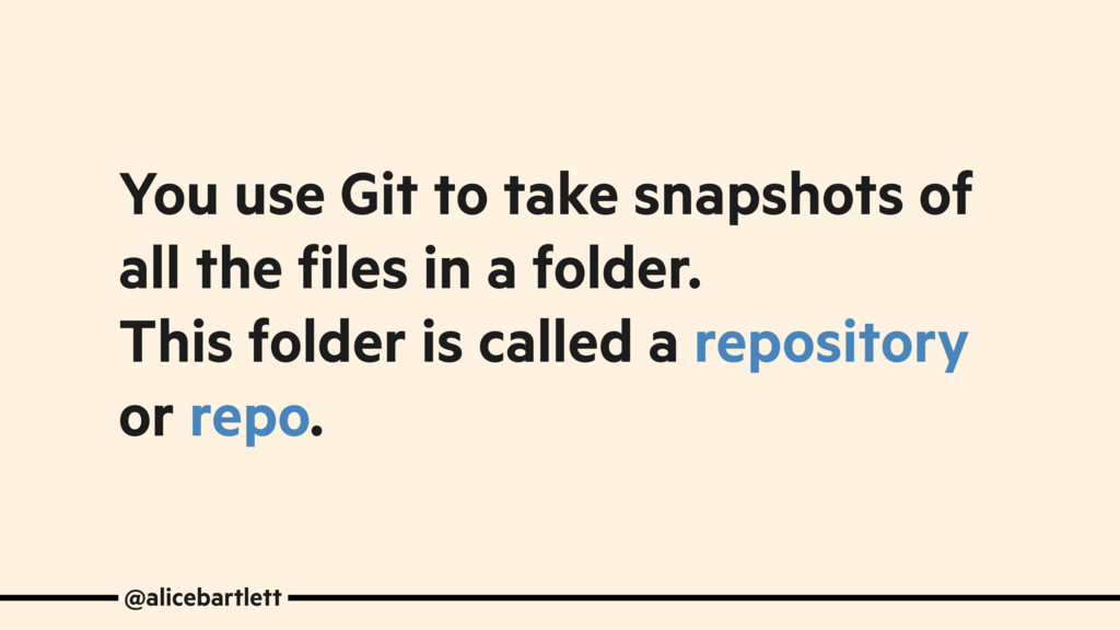 You use Git to take snapshots of all the files ...