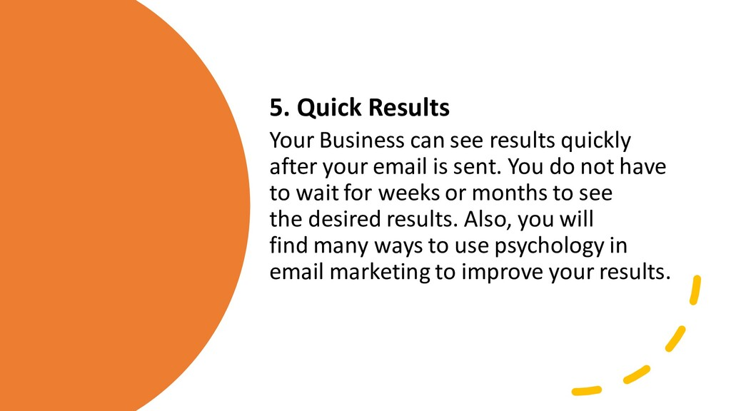 5. Quick Results Your Business can see results ...