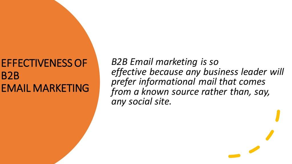 EFFECTIVENESS OF B2B EMAIL MARKETING B2B Email ...