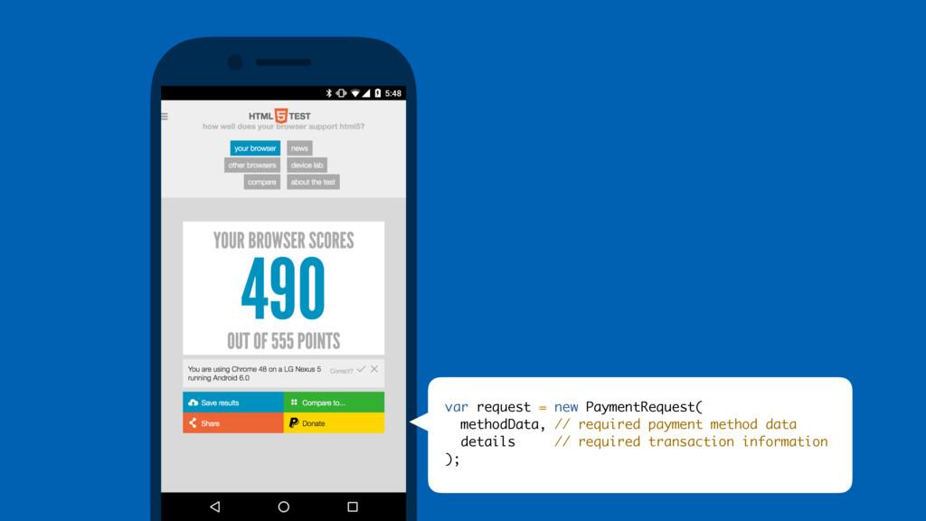 var request = new PaymentRequest( methodData, /...