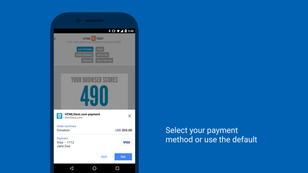 Select your payment  method or use the default