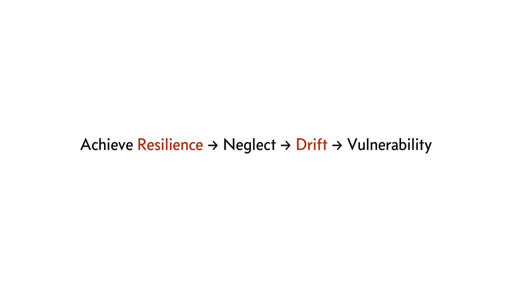 Achieve Resilience → Neglect → Drift → Vulnerab...