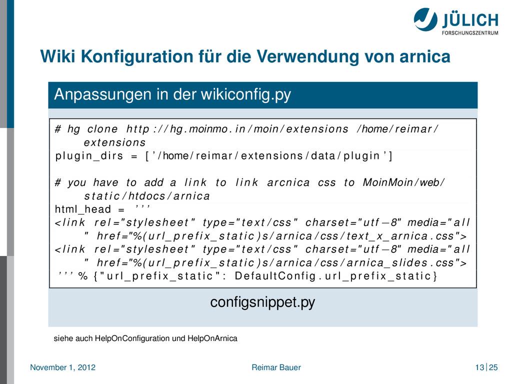 Wiki Konfiguration für die Verwendung von arnica...