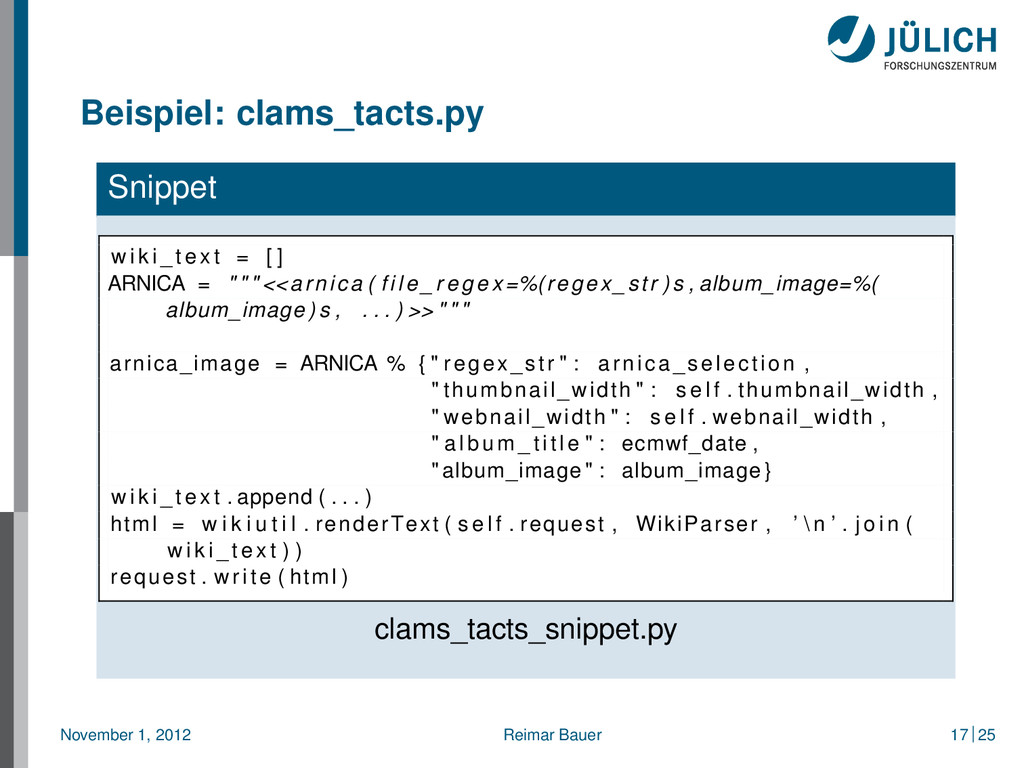 Beispiel: clams_tacts.py Snippet w i k i _ t e ...