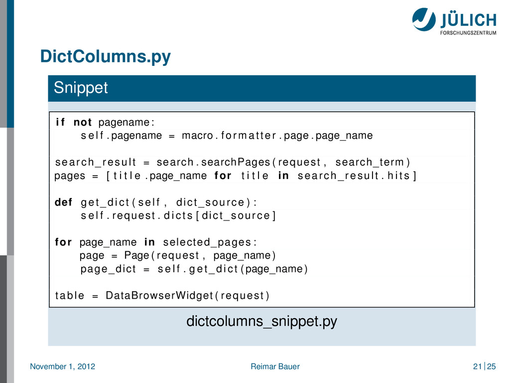 DictColumns.py Snippet i f not pagename : s e l...