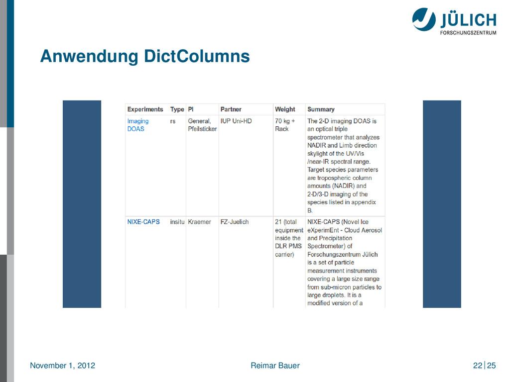 Anwendung DictColumns November 1, 2012 Reimar B...