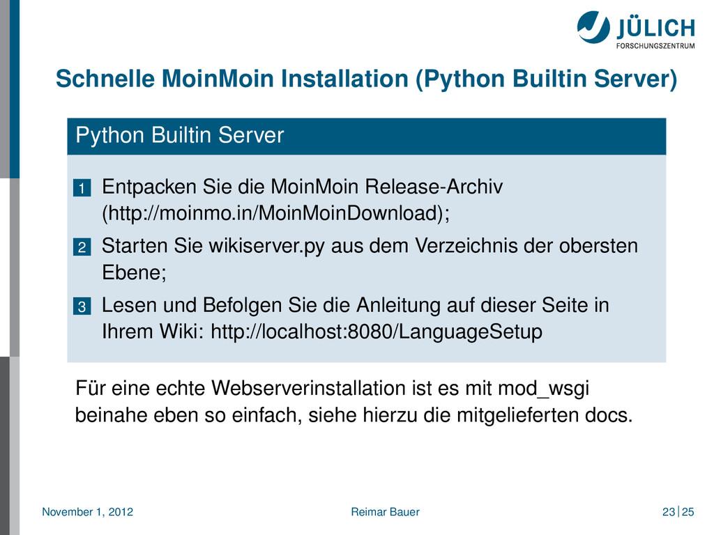 Schnelle MoinMoin Installation (Python Builtin ...