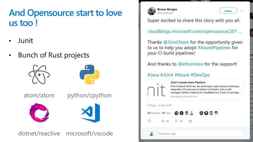 And Opensource start to love us too ! • Junit •...