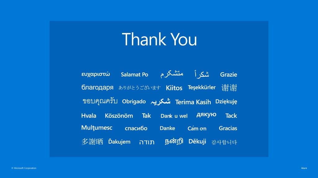 © Microsoft Corporation Thank You