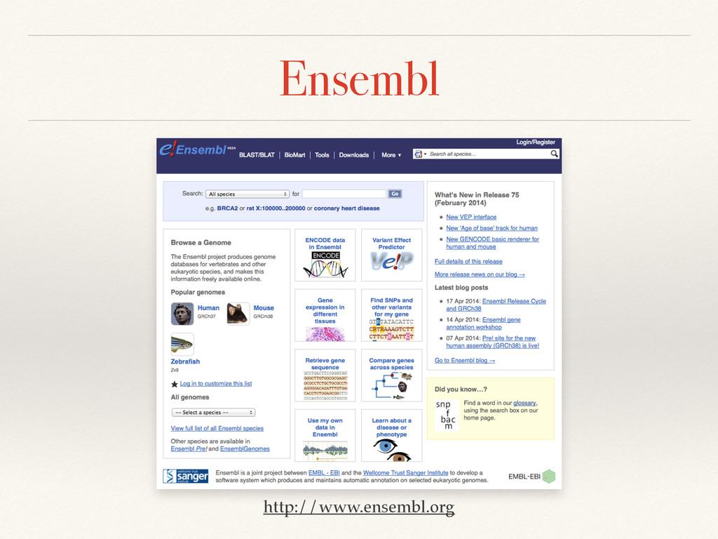 Ensembl http://www.ensembl.org