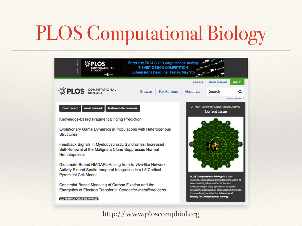 PLOS Computational Biology http://www.ploscompb...