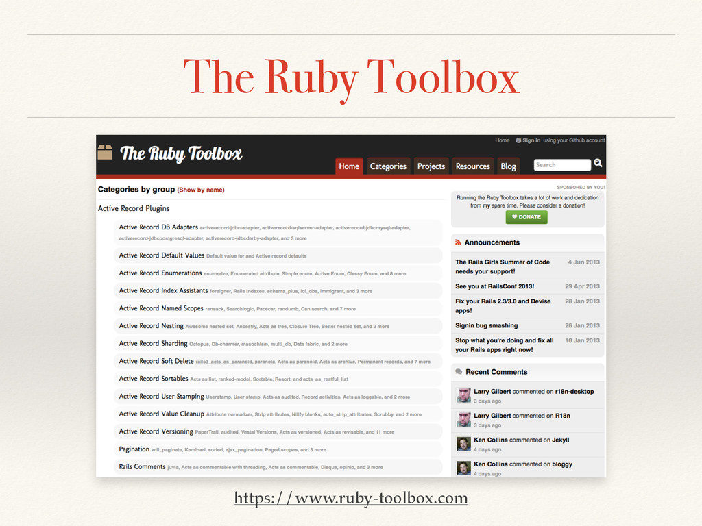 The Ruby Toolbox https://www.ruby-toolbox.com