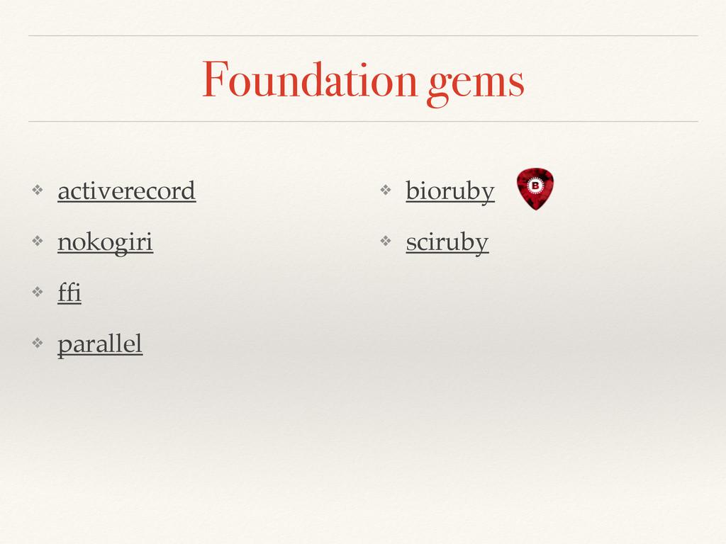 Foundation gems ❖ activerecord! ❖ nokogiri! ❖ f...