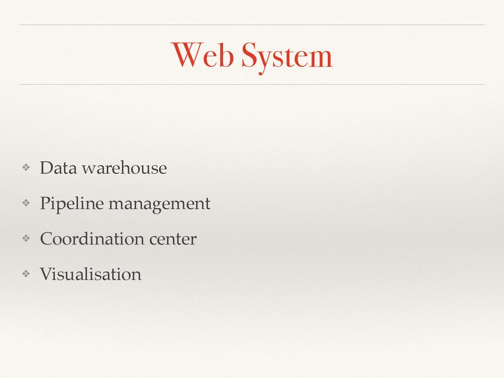 Web System ❖ Data warehouse! ❖ Pipeline managem...