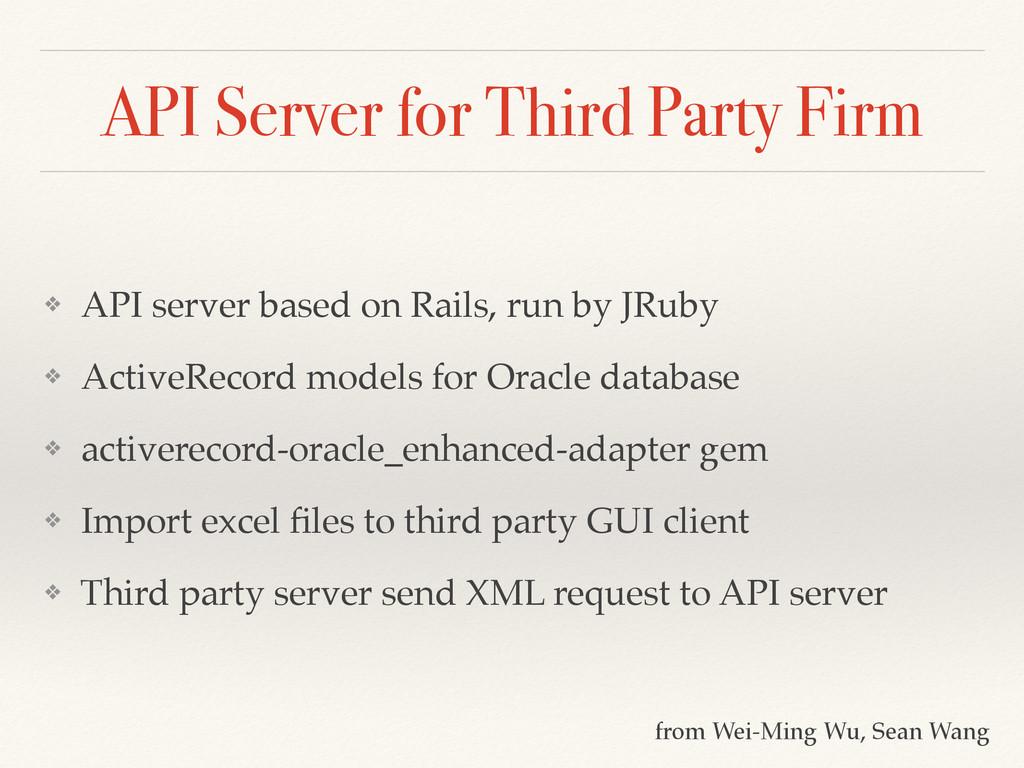API Server for Third Party Firm ❖ API server ba...