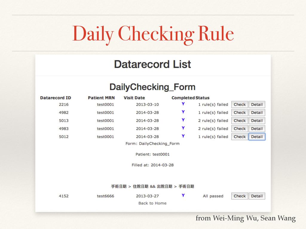 Daily Checking Rule from Wei-Ming Wu, Sean Wang